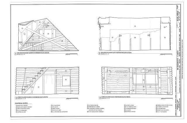 Interior Elevations - McDermott Cabin, Town of Dyea (historical town site), Skagway, Skagway-Hoonah-Angoon Census Area, AK