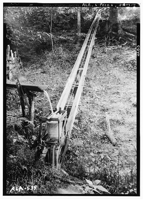 4.  Historic American Buildings Survey W. N. Manning, Photographer, July 17, 1935. RAIL ROAD TO SPRING SHOWING WATER POURING INTO BUCKET - Octavia Adkinson House, Wilson Road, Peachburg, Bullock County, AL