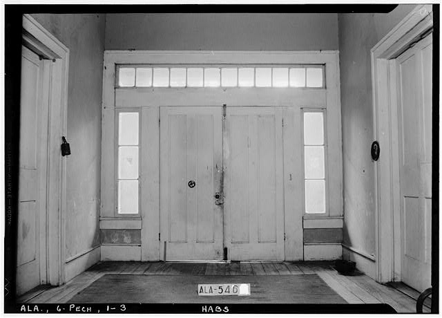 3.  Historic American Buildings Survey W. N. Manning, Photographer, July 19, 1935. FRONT HALL DOOR TREATMENT. - Seale-Mosley House, County Road 40 (moved from original location), Peachburg, Bullock County, AL