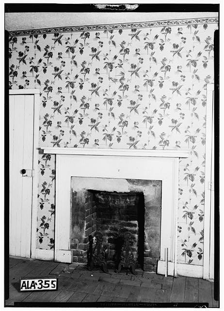 7.  Historic American Buildings Survey Alex Bush, Photographer, July 17, 1935 FIREPLACE IN OLD KITCHEN IN SERVANT HOUSE - Newsome-Minor House, 204 North Main Street, Tuscumbia, Colbert County, AL