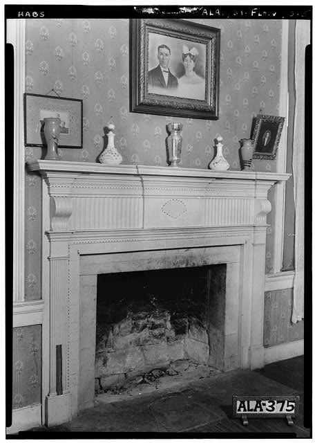 5.  Historic American Buildings Survey Alex Bush, Photographer, August 7, 1935 MANTEL IN S. W. FRONT ROOM, FIRST FLOOR (PARLOR) - Forks of Cypress, Savannah Road (Jackson Road), Florence, Lauderdale County, AL