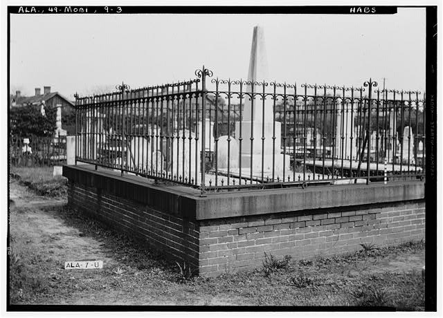 3.  Historic American Buildings Survey E. W. Russell, Photographer, April 7, 1936 IRON FENCE SURROUNDING THE CROTHERS LOT IN OLD CHURCH STREET CEMETERY - Church Street Cemetery, Church & Bayou Streets, Mobile, Mobile County, AL