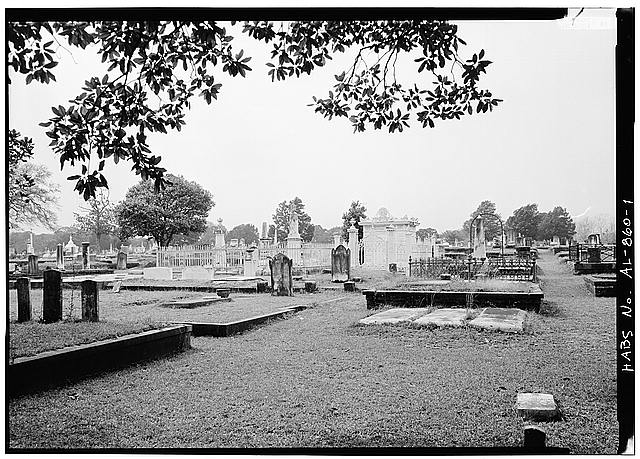 1.  GENERAL VIEW OF CEMETERY, SHOWING TOMB IN CENTER BACKGROUND - Slatter Family Tomb, Magnolia Cemetery, Virginia Street, Mobile, Mobile County, AL