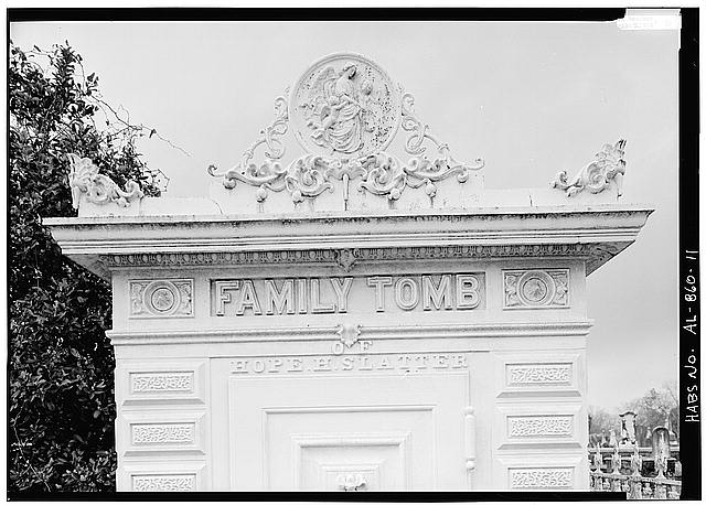 11.  DETAIL OF UPPER PORTION OF FRONT ELEVATION OF TOMB, SHOWING INSCRIPTION, READING 'FAMILY TOMB OF HOPE H. SLATTER' - Slatter Family Tomb, Magnolia Cemetery, Virginia Street, Mobile, Mobile County, AL