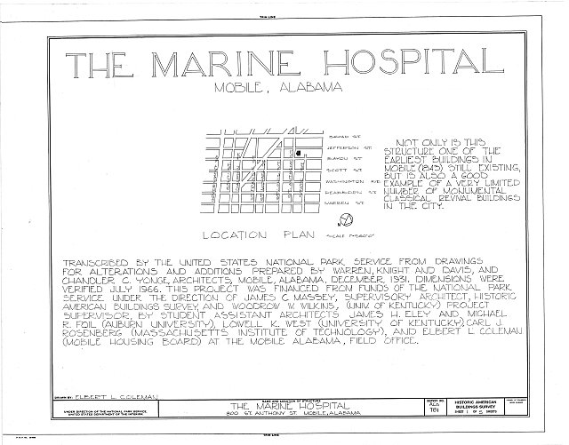 HABS ALA,49-MOBI,90- (sheet 1 of 5) - U. S. Marine Hospital & Gates, 800 Saint Anthony Street, Mobile, Mobile County, AL