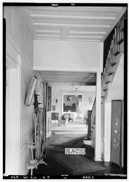 5.  Historic American Buildings Survey Alex Bush, Photographer, October 17, 1935 VIEW FROM FRONT DOOR TOWARDS LONG T AT REAR, SHOWING PART OF LIVING ROOM & DINING ROOM - Lee Haven, County Road 21, Livingston, Sumter County, AL