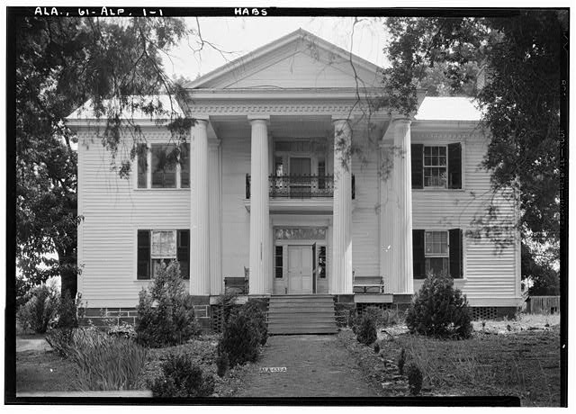 1.  Historic American Buildings Survey E. W. Russell, Photographer, June 18, 1937 SOUTH FRONT ELEVATION - Alpine, County Road 46, Alpine, Talladega County, AL