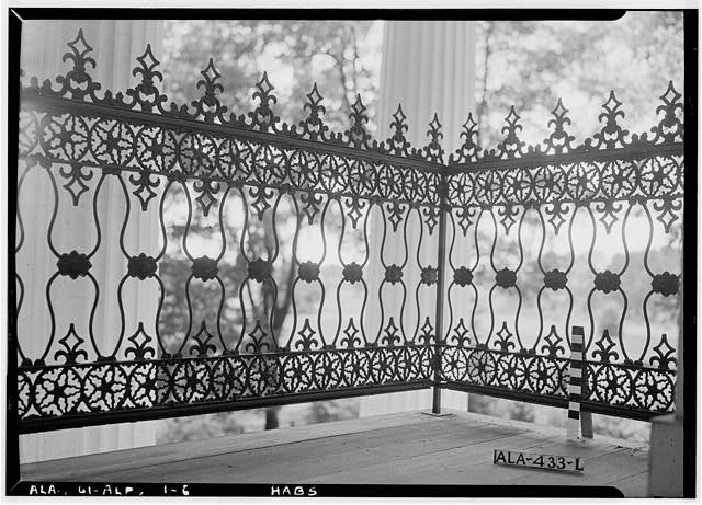 6.  Historic American Buildings Survey E. W. Russell, Photographer, June 18, 1937 A CLOSE- UP OF IRON BALUSTRADE OF SECOND STORY BALCONY, FRONT ELEVATION - Alpine, County Road 46, Alpine, Talladega County, AL