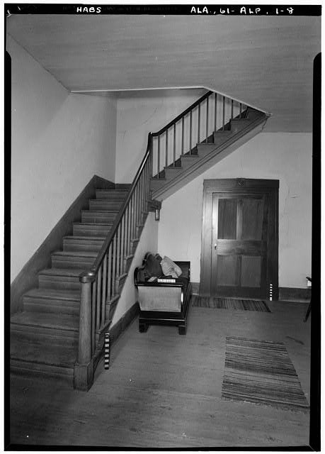 8.  Historic American Buildings Survey E. W. Russell, Photographer, June 17, 1937 THE MAIN HALL, FIRST STORY, FROM FRONT ENTRANCE - Alpine, County Road 46, Alpine, Talladega County, AL