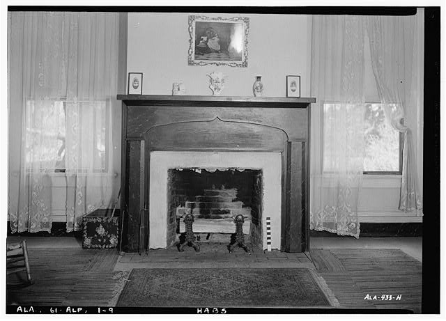 9.  Historic American Buildings Survey E. W. Russell, Photographer, June 18, 1937 FIREPLACE AND MANTEL. EAST WALL OF EAST FRONT ROOM - Alpine, County Road 46, Alpine, Talladega County, AL