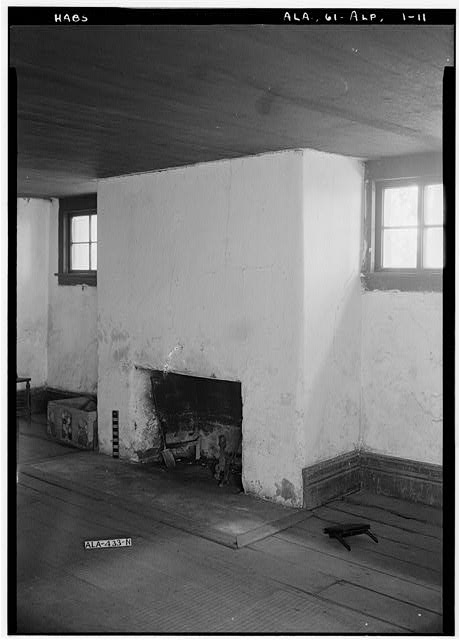 11.  Historic American Buildings Survey E. W. Russell, Photographer, June 18, 1937 OPEN FIREPLACE IN WEST WALL OF BASEMENT DINING ROOM, WEST SIDE OF HOUSE (OR BASEMENT) - Alpine, County Road 46, Alpine, Talladega County, AL