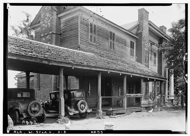 3.  Historic American Buildings Survey Alex Bush, Photographer, May 9, 1935 REAR (W) AND SOUTH SIDE OF HOUSE - Mount Ida, County Road 11, Sylacauga, Talladega County, AL