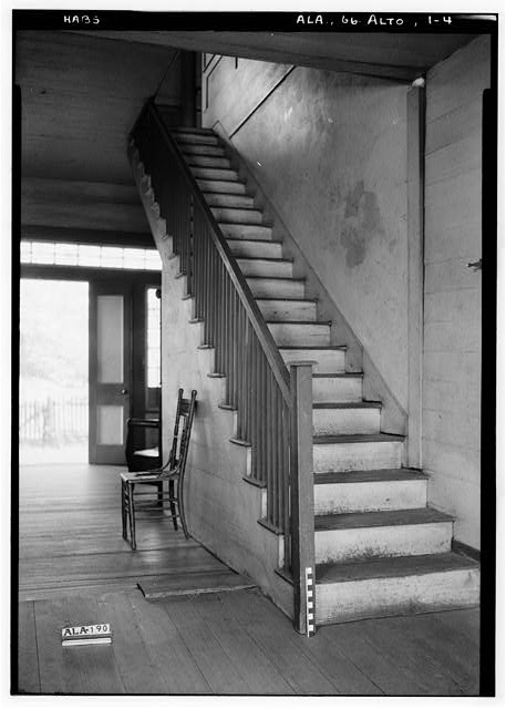 4.  Historic American Buildings Survey Alex Bush, Photographer, March 23, 1937 STAIR ON NORTH WALL OF HALL - Joshua B. Grace House & Outbuildings, County Road 24, Allenton, Wilcox County, AL
