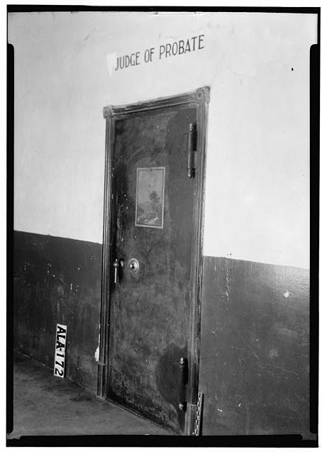 15.  Historic American Buildings Survey Alex Bush, Photographer, January 8, 1937 VAULT DOOR IN PROBATE JUDGE'S OFFICE, FIRST FLOOR - Wilcox County Courthouse, Broad, Claiborne, Court & Water Streets, Camden, Wilcox County, AL