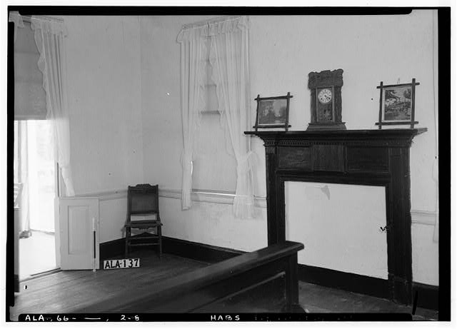 8.  Historic American Buildings Survey Alex Bush, Photographer, August 29, 1936 SOUTH AND WEST WALLS IN S. W. FRONT ROOM, FIRST FLOOR, SHOWING MANTELS AND WINDOW - Dry Forks Plantation, County Road 12, Camden, Wilcox County, AL