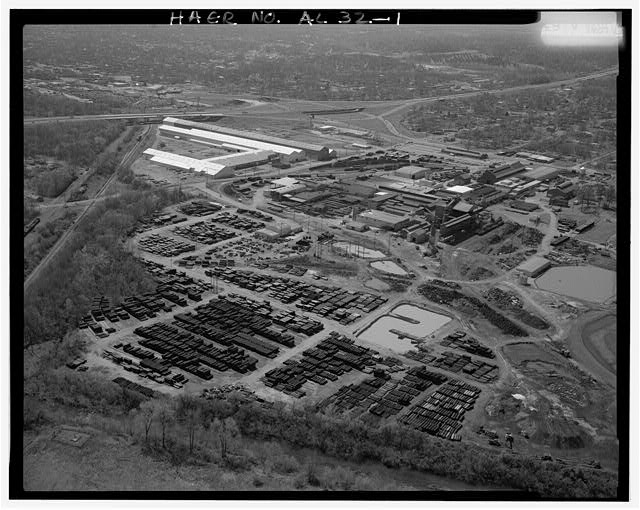 AERIAL VIEW, LOOKING SOUTH. - United States Pipe & Foundry Company Plant, 2023 St. Louis Avenue at I-20/59, Bessemer, Jefferson County, AL