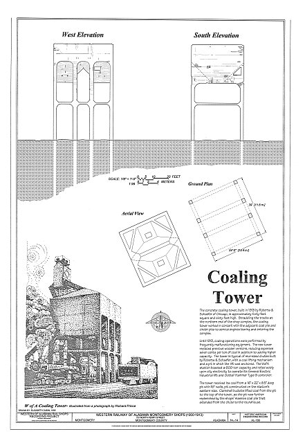 Coaling Tower Elevations - Western Railway of Alabama Montgomery Rail Shops, 701 North Perry Street, Montgomery, Montgomery County, AL