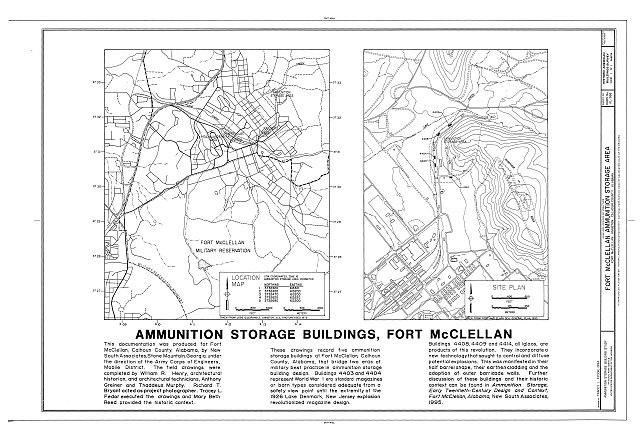 HABS AL-988 (sheet 1 of 1) - Fort McClellan Ammunition Storage Area, Second Avenue (Magazine Road), Anniston, Calhoun County, AL