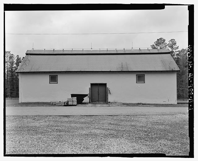 Planar view of front (east) side, view towards westside west with scale - Fort McClellan Ammunition Storage Area, Building No. 4404, Second Avenue (Magazine Road), Anniston, Calhoun County, AL