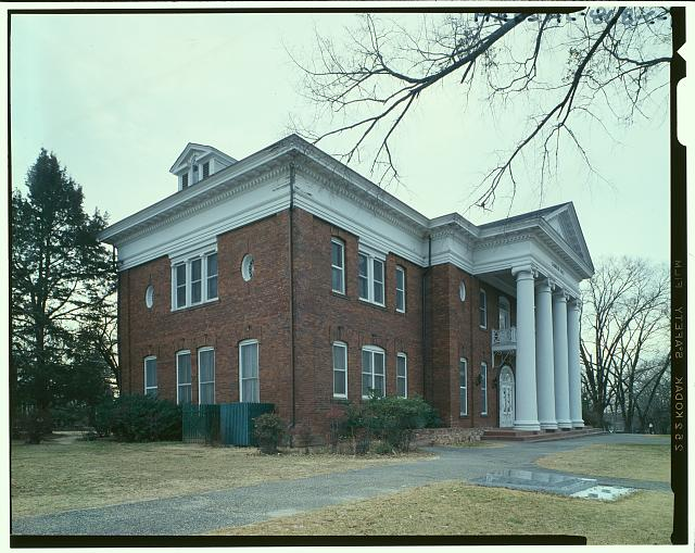 Oblique view - Tuskegee Institute, Carnegie Hall, Tuskegee, Macon County, AL