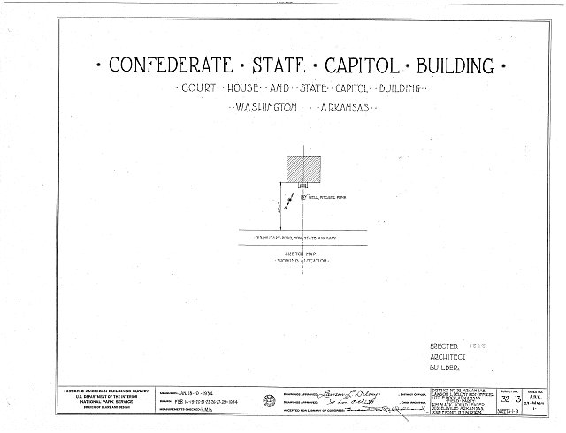 HABS ARK,29-WASH,1- (sheet 0 of 9) - Confederate State Capitol, Old Military Road  (State Highway), Washington, Hempstead County, AR