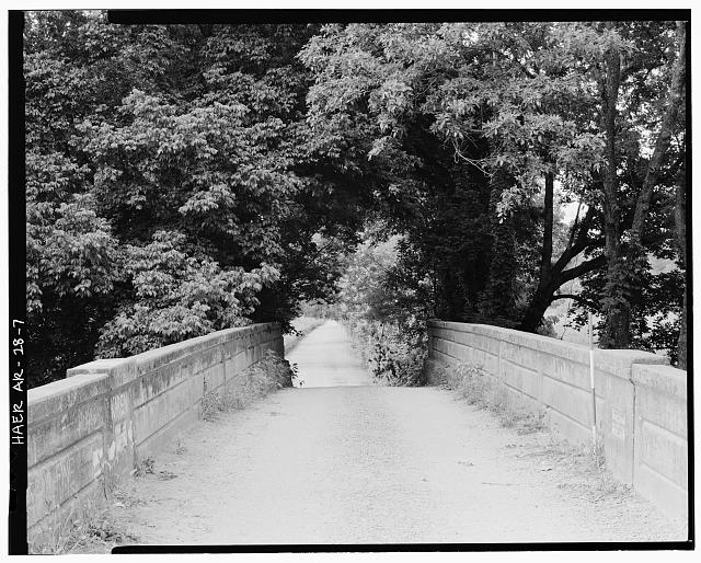 7.  LOOKING SOUTHWEST, VIEW FROM ROADBED WITH 4' RANGE POLE AT NORTHWEST SIDE OF BRIDGE RAILING - Illinois River Bridge, Spanning Illinois River at Benton County Road 3, Siloam Springs, Benton County, AR