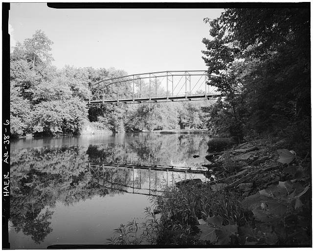 6.  GENERAL VIEW OF BRIDGE FROM RIVER BANK, LOOKING SOUTHEAST - Wyman Bridge, Spanning West fork of White River at County Road 48, Fayetteville, Washington County, AR