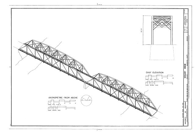 East Elevation and Axonometric from above - Woolsey Bridge, County Road 1408, Woolsey, Washington County, AR