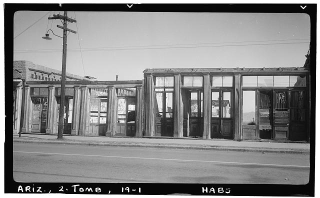 1.  Historic American Buildings Survey Delos H. Smith, photographer February 1940 - Fremont Street (Commercial Buildings, Ruins), Tombstone, Cochise County, AZ