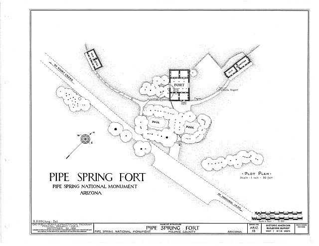 HABS ARIZ,8-MOC.V,1- (sheet 1 of 14) - Pipe Spring Fort, Moccasin, Mohave County, AZ