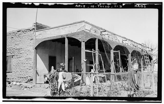 3.  Historic American Buildings Survey John P. O'Neill, Photographer March 3, 1937 VIEW FROM SOUTHEAST - Leopoldo Carrillo House, 1005 Mission Avenue, Tucson, Pima County, AZ