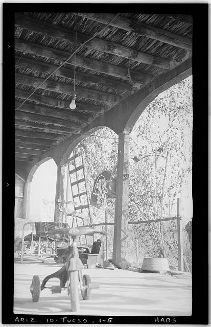 5.  Historic American Buildings Survey Frederick D. Nichols, Photographer January 1938 VIEW INSIDE PORTAL SHOWING CEILING CONSTRUCTION - Leopoldo Carrillo House, 1005 Mission Avenue, Tucson, Pima County, AZ