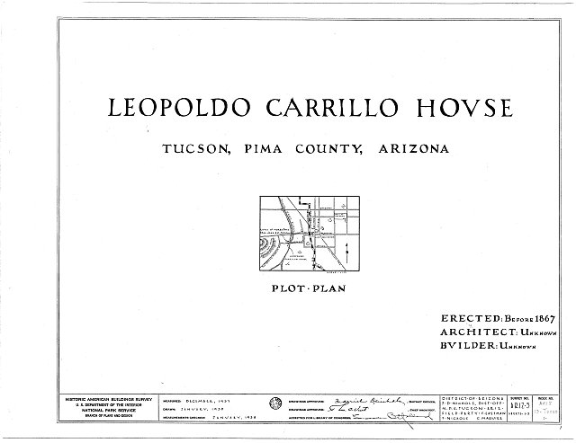 HABS ARIZ,10-TUCSO,1- (sheet 0 of 5) - Leopoldo Carrillo House, 1005 Mission Avenue, Tucson, Pima County, AZ