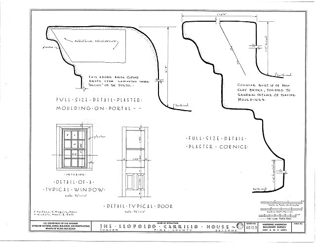 HABS ARIZ,10-TUCSO,1- (sheet 4 of 5) - Leopoldo Carrillo House, 1005 Mission Avenue, Tucson, Pima County, AZ