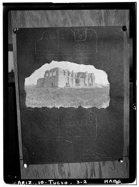 2.  Historic American Buildings Survey Copy of Reynold's photo (1891). Courtesy of Arizona Pioneer Historical Society. - Mission San Cosme del Tucson, Menlo Park, Tucson, Pima County, AZ