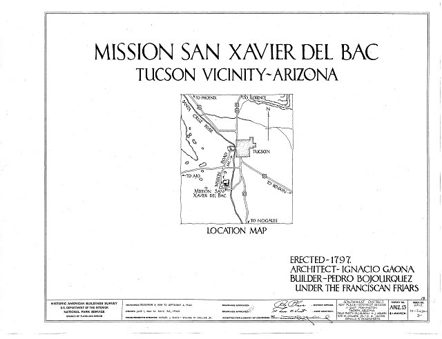 HABS ARIZ,10-TUCSO.V,3- (sheet 0 of 41) - San Xavier del Bac Mission, Mission Road, Tucson, Pima County, AZ