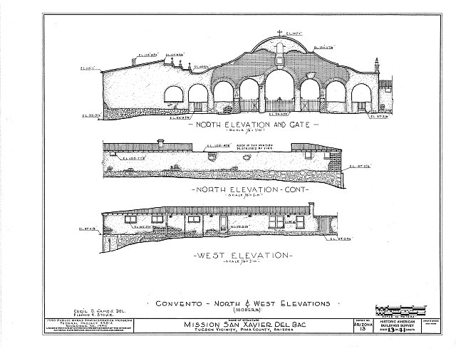 HABS ARIZ,10-TUCSO.V,3- (sheet 13 of 41) - San Xavier del Bac Mission, Mission Road, Tucson, Pima County, AZ