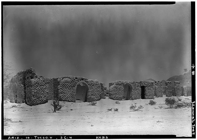 4.  Historic American Buildings Survey, Donald W. Dickensheets, Photographer. July 6, 1940. HOSPITAL (EAST-NORTHEAST ELEVATION). - Fort Lowell, Post Hospital (Ruins), Fort Lowell Road Vicinity, Tucson, Pima County, AZ