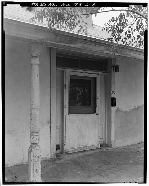 2.  DETAIL VIEW SHOWING FRONT ENTRANCE. - Ramon Bustamante House, 505 South Meyer Avenue, Tucson, Pima County, AZ