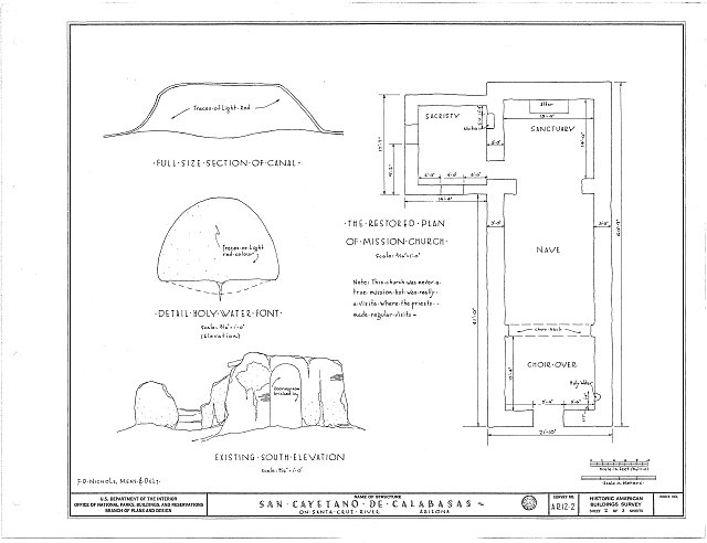 HABS ARIZ,12-NOGAL.V,2- (sheet 2 of 3) - San Cayetano de Calabasas (Mission, Ruins), Santa Cruz River Vicinity, Nogales, Santa Cruz County, AZ