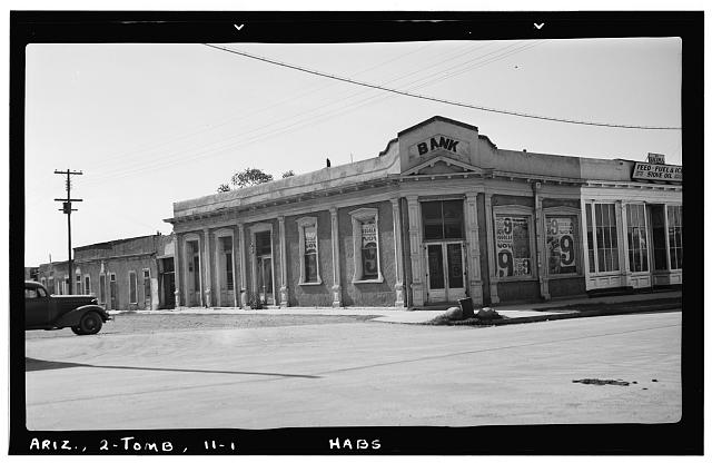 1.  Historic American Buildings Survey Frederick D. Nichols, Photographer November 1937 GENERAL VIEW LOOKING SOUTHWEST - Third & Allen Streets (Bank), Tombstone, Cochise County, AZ
