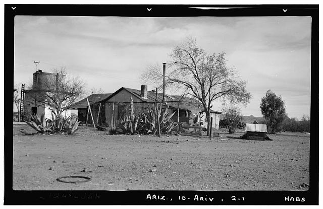 1.  Historic American Buildings Survey Frederick D. Nichols, Photographer December 1937. VIEW OF THE RANCH HOUSE LOOKING SOUTHEAST - Arivaca Ranch, Arivaca, Pima County, AZ
