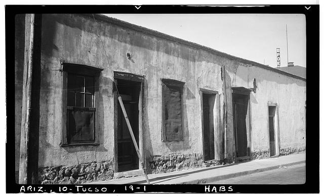 1.  Historic American Buildings Survey Frederick D. Nichols, Photographer January 1938 FRONT ELEVATION - Courthouse Plaza (Row Houses), Tucson, Pima County, AZ