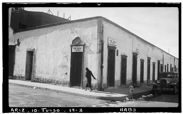 2.  Historic American Buildings Survey Frederick D. Nichols, Photographer January 1938 SIDE ELEVATION - Courthouse Plaza (Row Houses), Tucson, Pima County, AZ