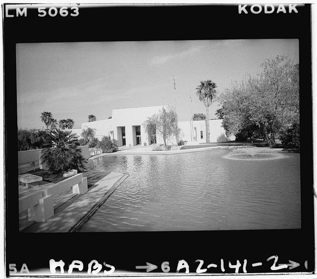 2.  West elevation from northern end of lake - City Hall, Civil Center, Scottsdale, Maricopa County, AZ