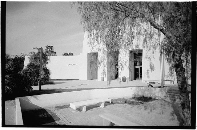3.  West elevation (partial view) from plaza in front - City Hall, Civil Center, Scottsdale, Maricopa County, AZ