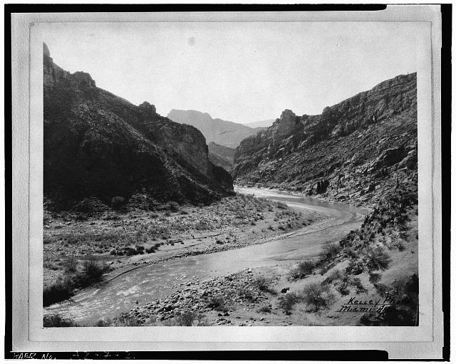 2.  COOLIDGE DAM SITE, LOOKING SOUTH (DOWNSTREAM), c. 1927 - Coolidge Dam, Gila River, Peridot, Gila County, AZ