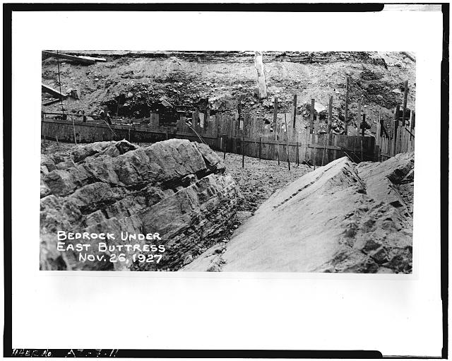 11.  VIEW OF BEDROCK EXPOSED UNDER EAST BUTTRESS, November 26, 1927 - Coolidge Dam, Gila River, Peridot, Gila County, AZ
