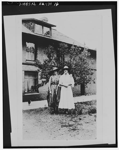 16.  Photocopy of photograph (original in possession of Chiricahua National Monument), photographer unknown, c.1917 LILLIANA AND HILDEGARD ERICKSON IN FRONT OF RANCH HOUSE - Faraway Ranch, Willcox, Cochise County, AZ