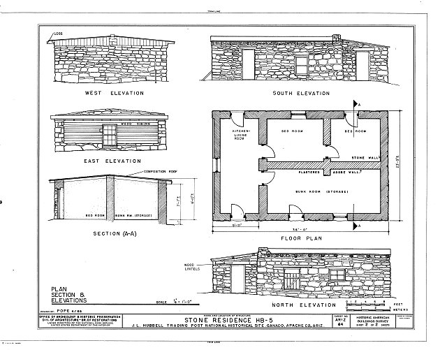 HABS ARIZ,1-GANA,1E- (sheet 4 of 4) - Hubbell Trading Post, Bunkhouse, Ganado, Apache County, AZ